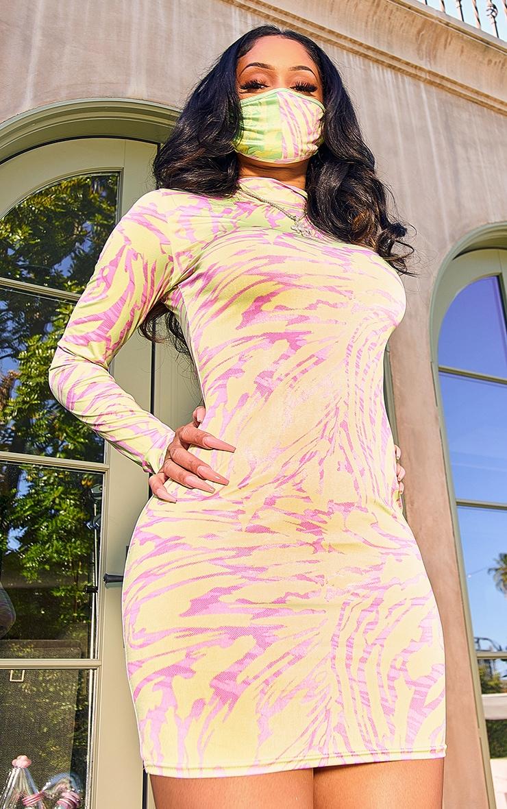 Lime Abstract Print High Neck Long Sleeve Bodycon Dress 3