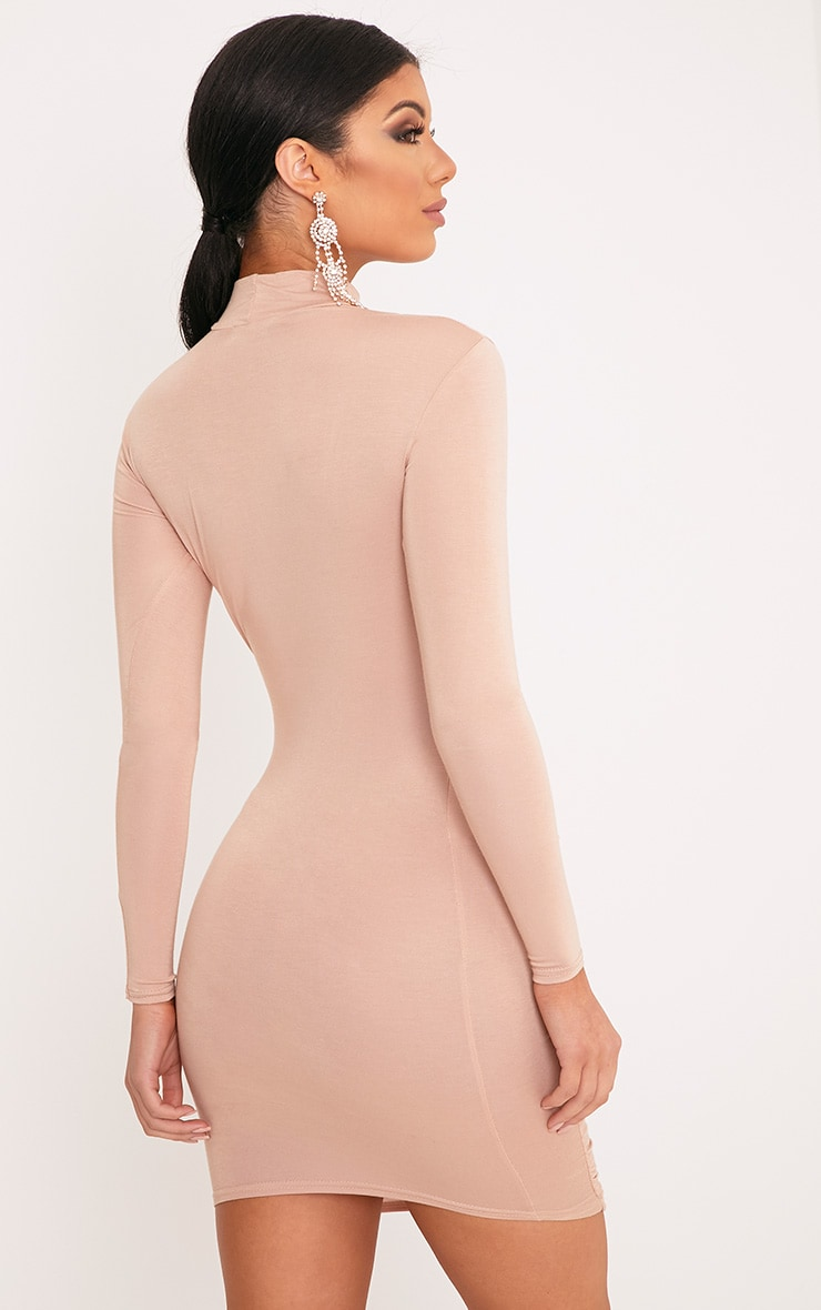 Moana Nude Ruched Detail Bodycon Dress 2