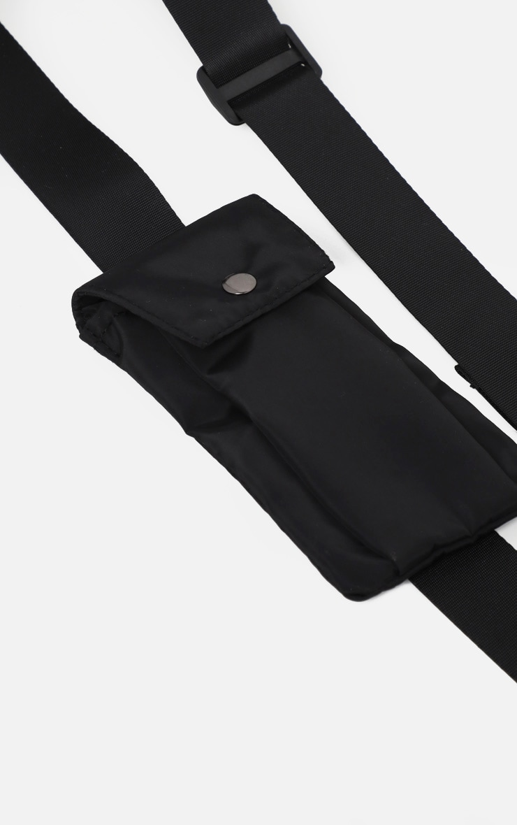 Black Nylon Square Double Pouch Harness Bag 3