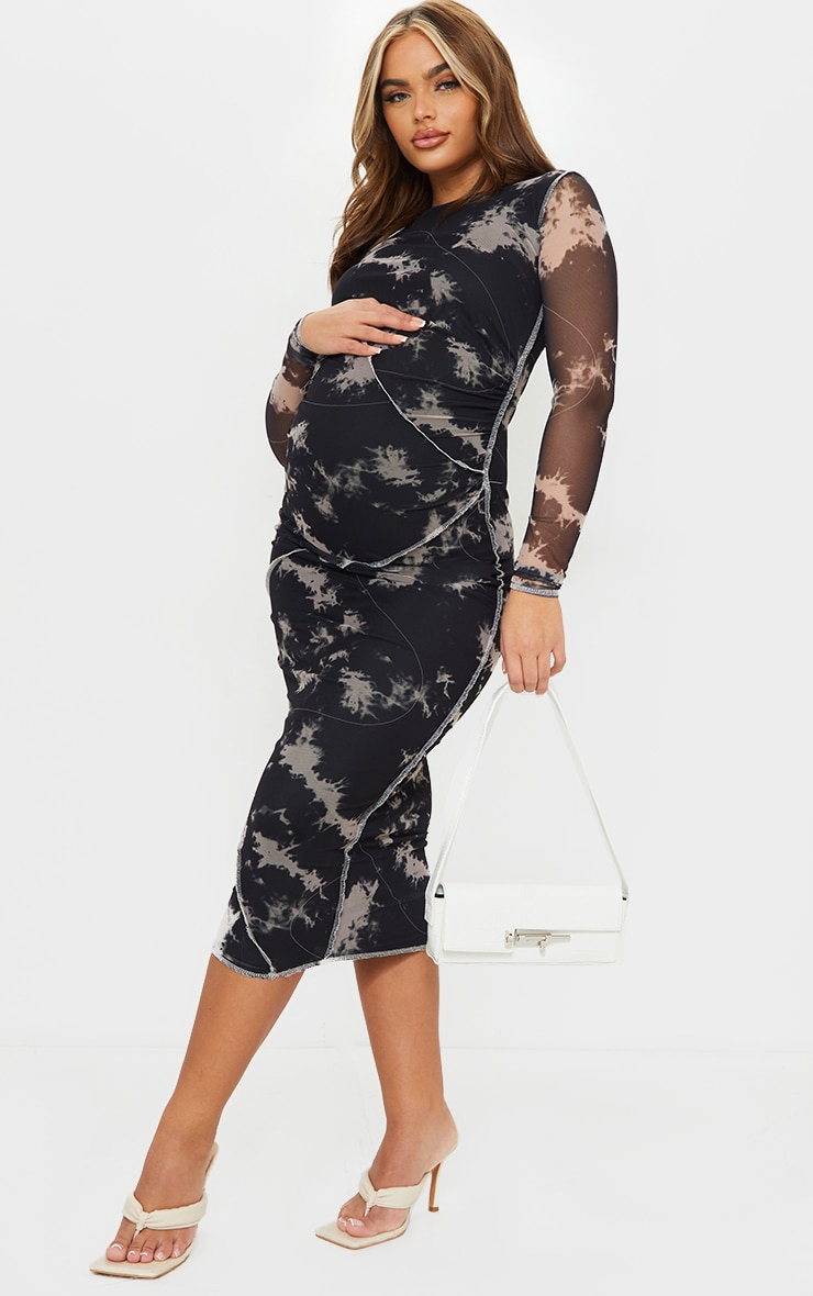 Maternity Black Contrast Overlocking Mesh Midi Dress 1
