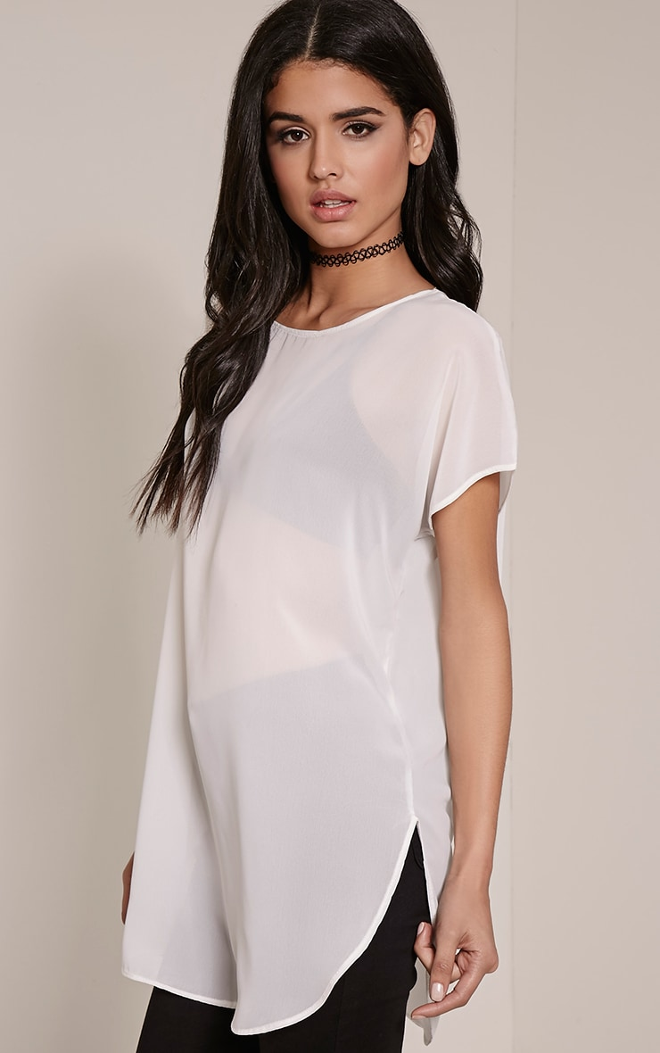 Kary Cream Oversized Chiffon Tunic 1