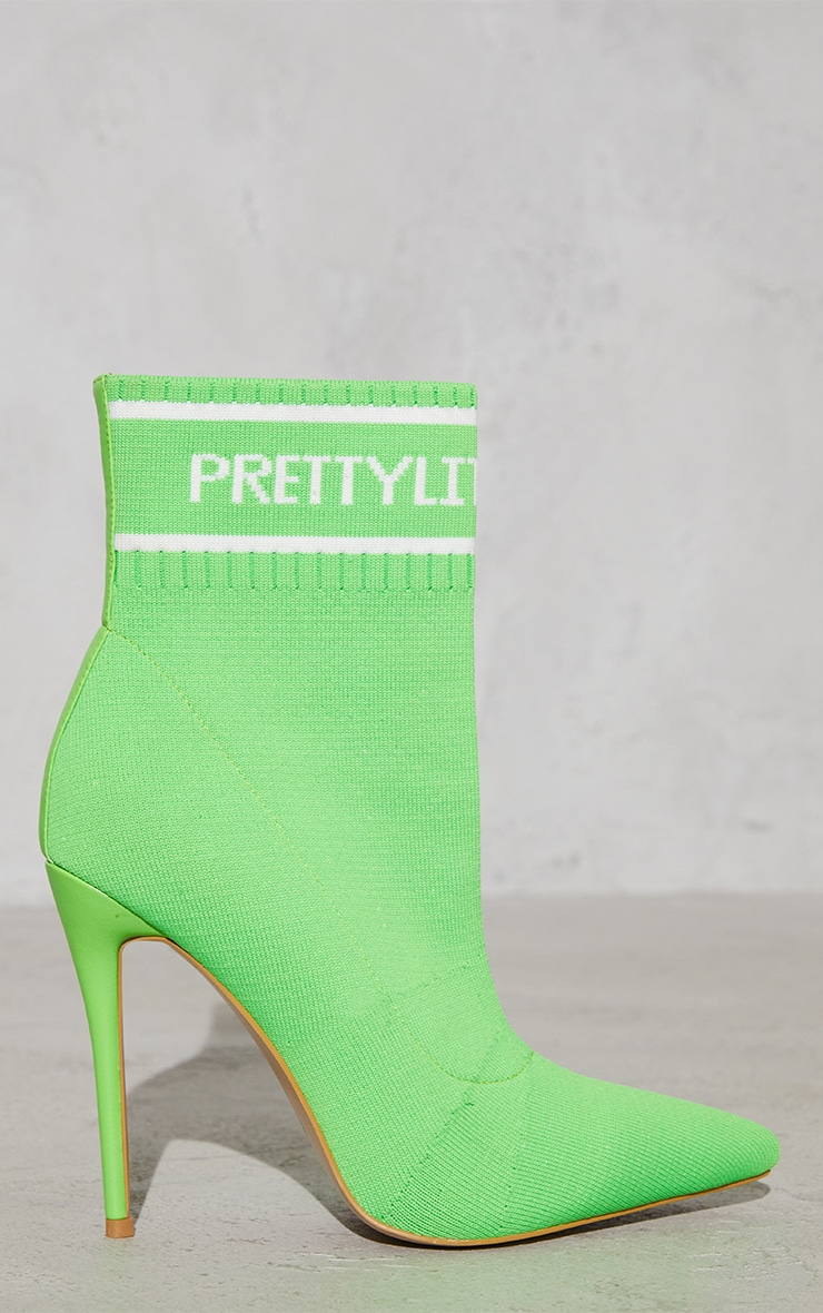PRETTYLITTLETHING Neon Green Knitted Pointed Sock Boots 4