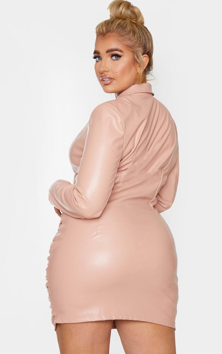 Plus Nude PU Ruched Skirt Blazer Dress 2