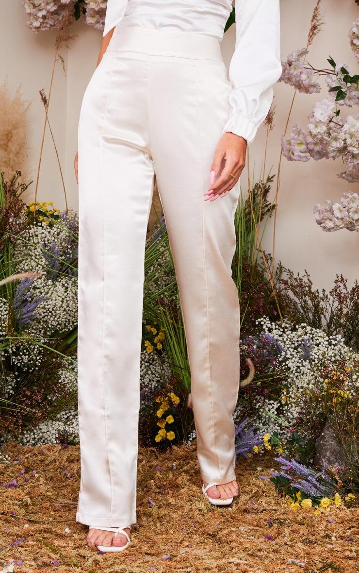 Cream Satin Straight Leg Pants 2