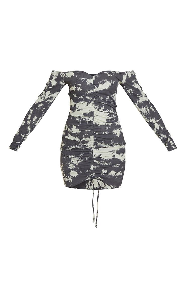 Multi Tie Dye Print Ribbed Ruched Bardot Bodycon Dress 5