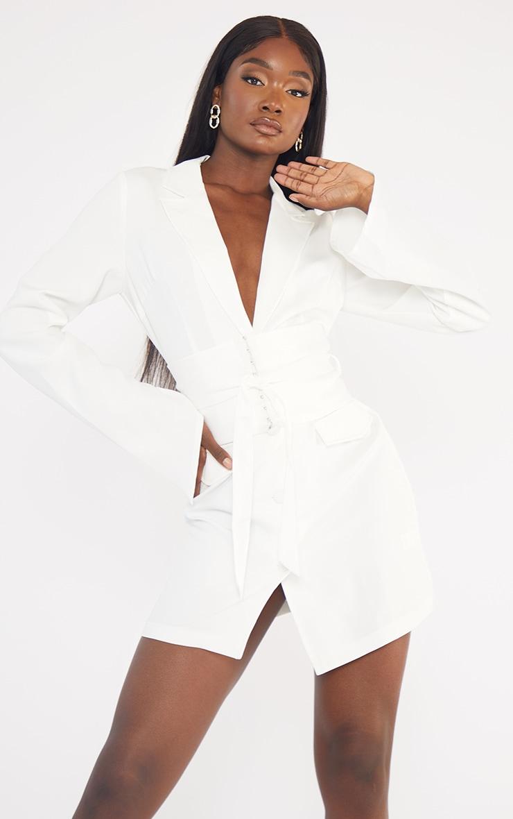 Tall  White Long Sleeve Corset Belted Blazer Dress 1