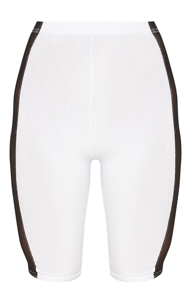 White Slinky Mesh Panel Cycle Short 3
