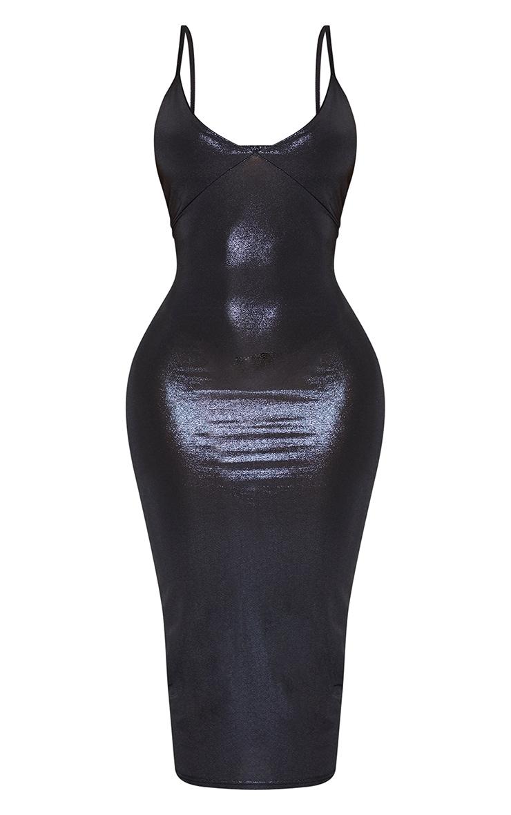 Shape Black Metallic Slinky Cup Detail Midi Dress 3