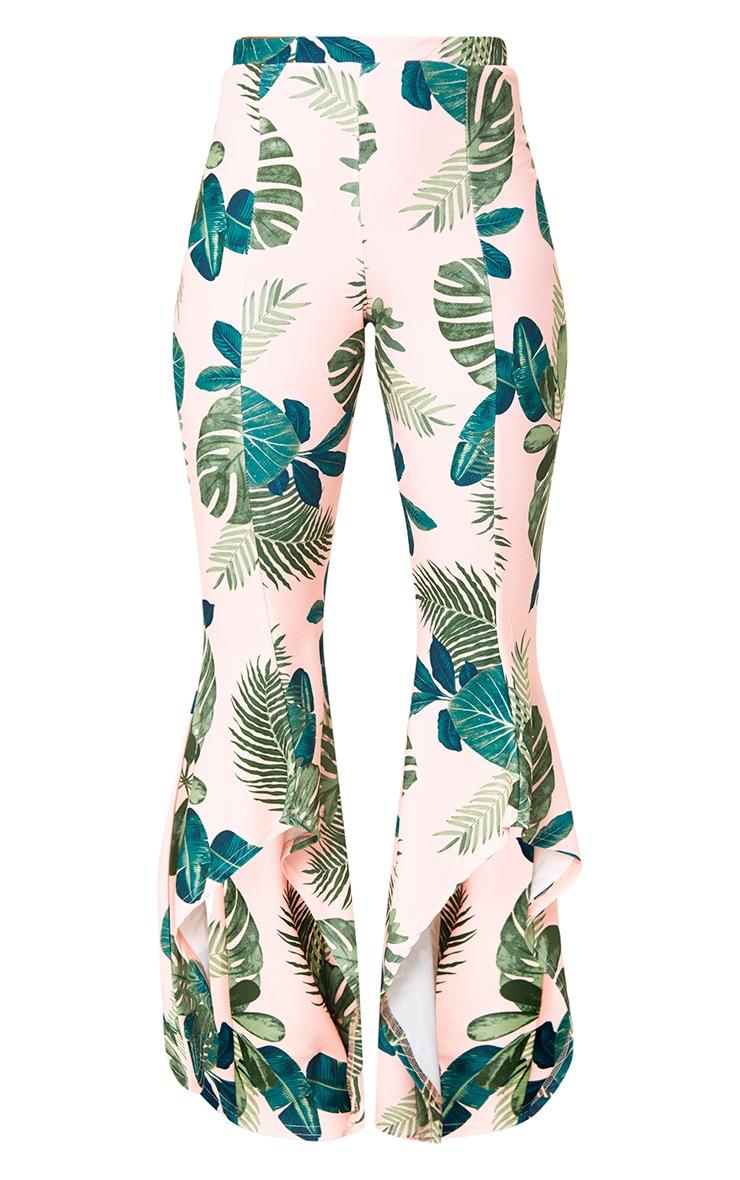 Pink Palm Print Hi Lo Hem Trousers 3