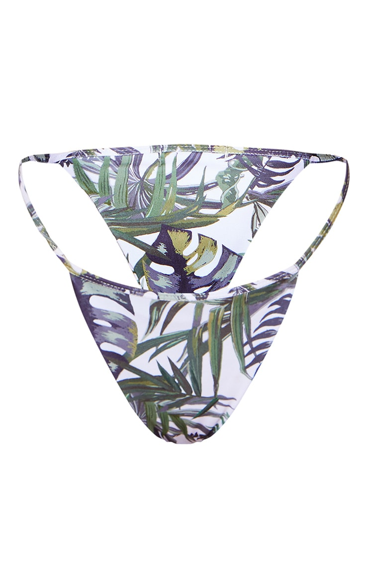 White Palm Print Strappy Tanga Bikini Bottoms 7