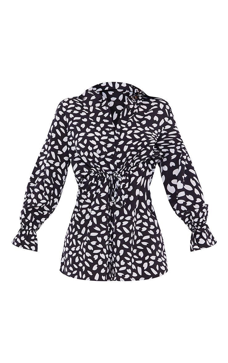 Black Dalmatian Print Frill Sleeve Shirt Romper 5