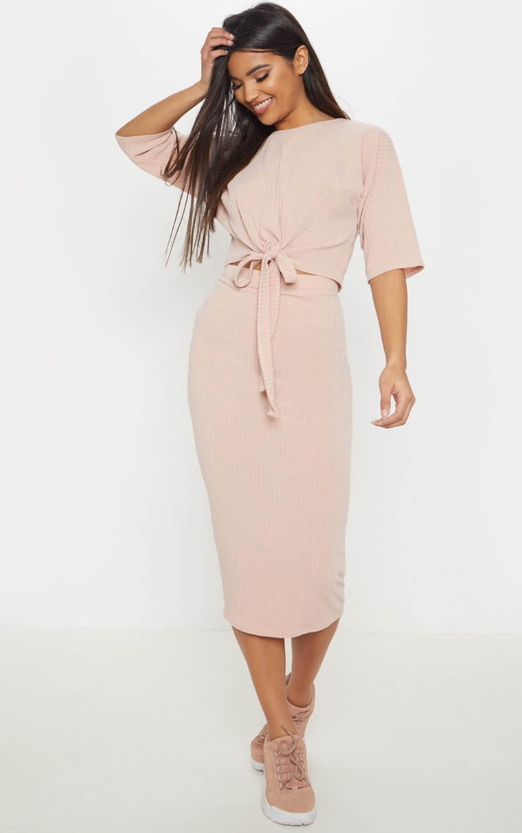 Stone Rib High Waisted Midi Skirt