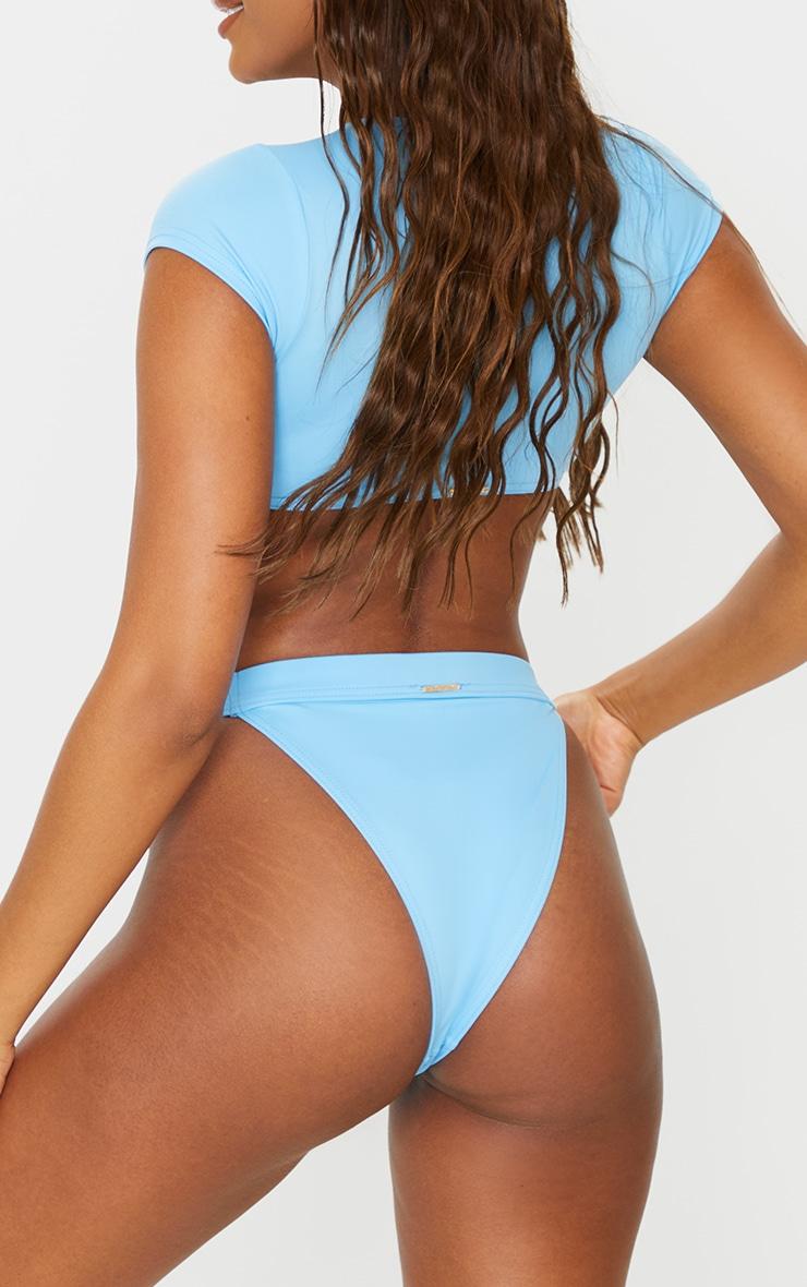 Recycled Blue Mix & Match High Leg Elasticated Bikini Bottom 3