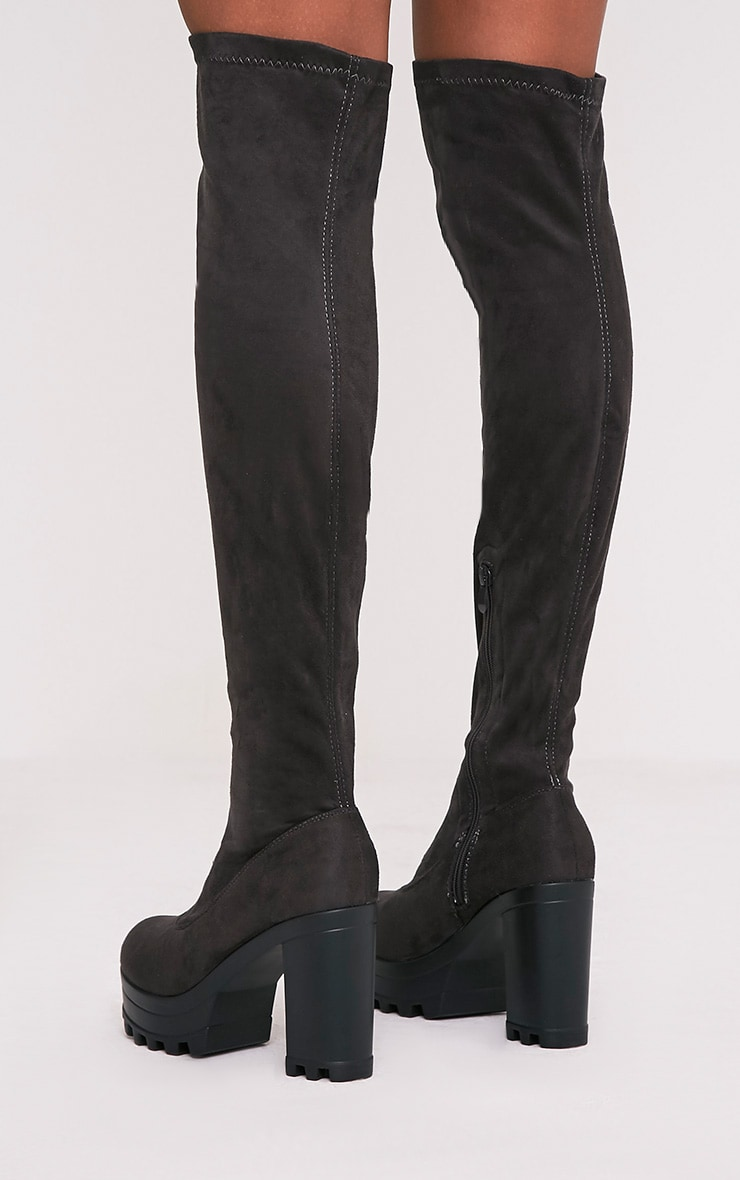 Kymberly Grey Platform Cleated Sole Knee High Boots 4
