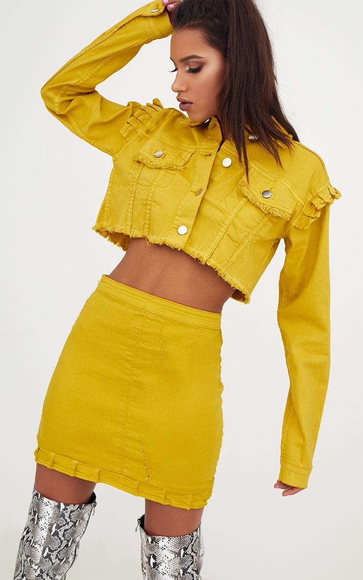 Yellow Ruffle Hem Denim Skirt 1