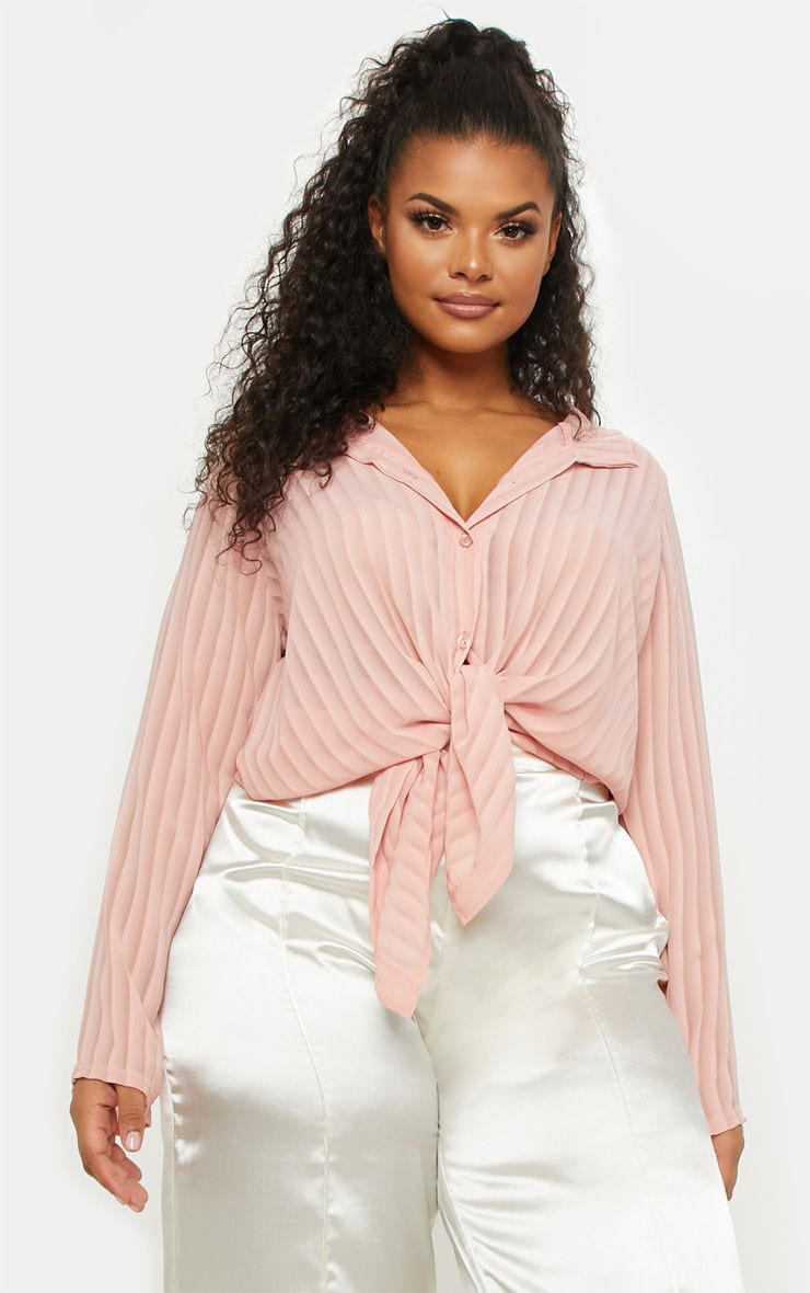 Plus Dusty Pink Striped Chiffon Oversized Shirt 1