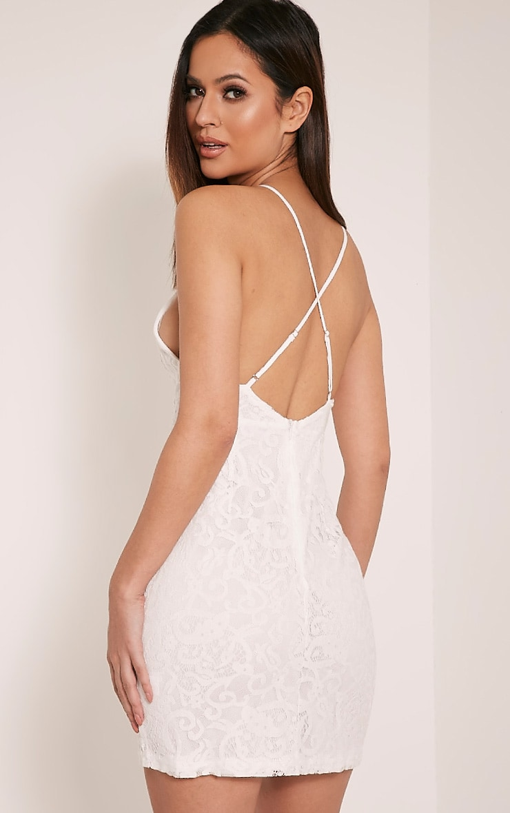 Elora White Cross Back Lace Mini Dress 4
