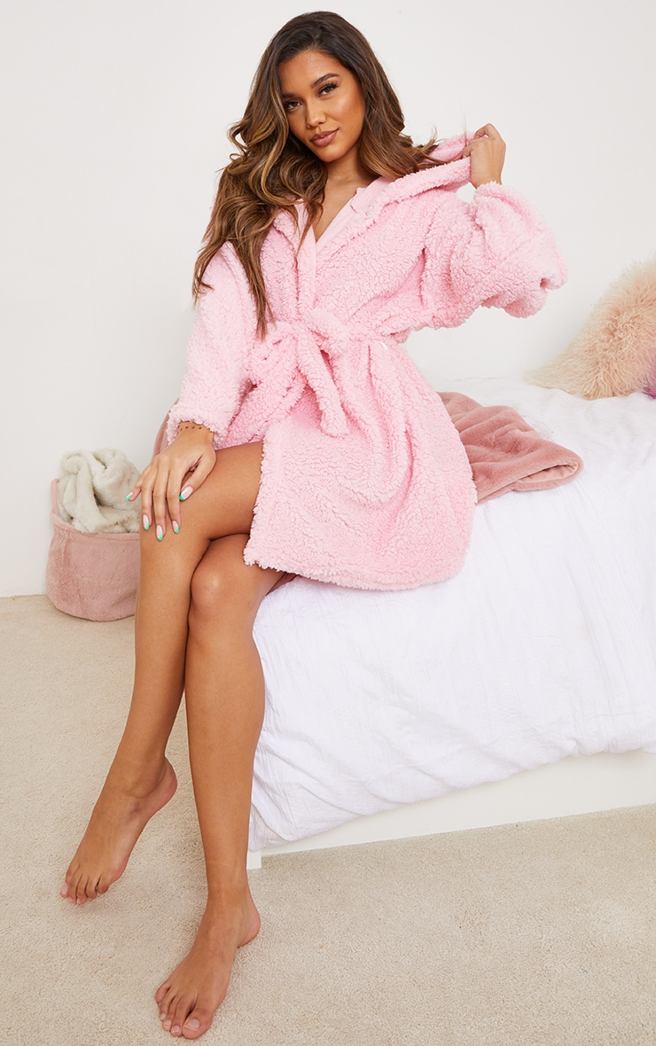 Pink Borg Dressing Gown 3