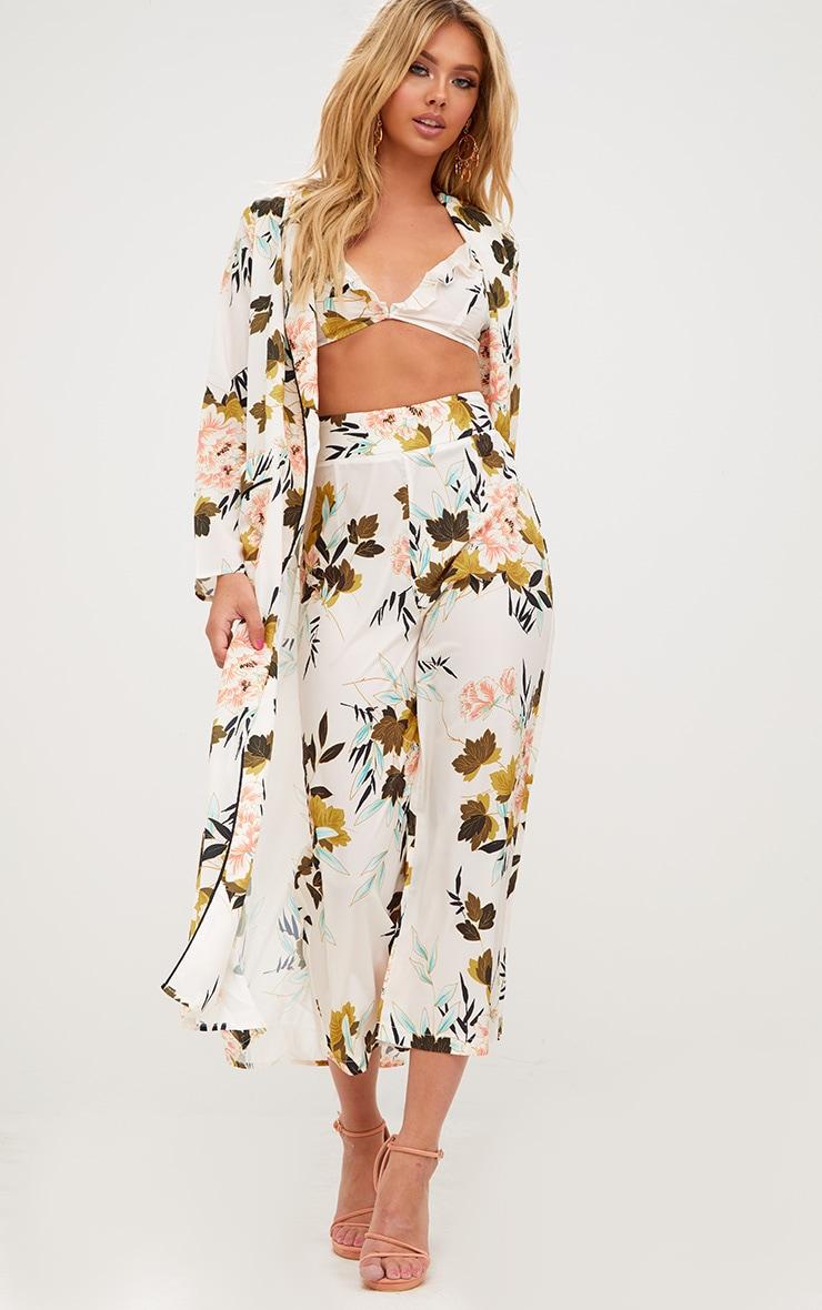 Cream Floral Maxi Kimono 1