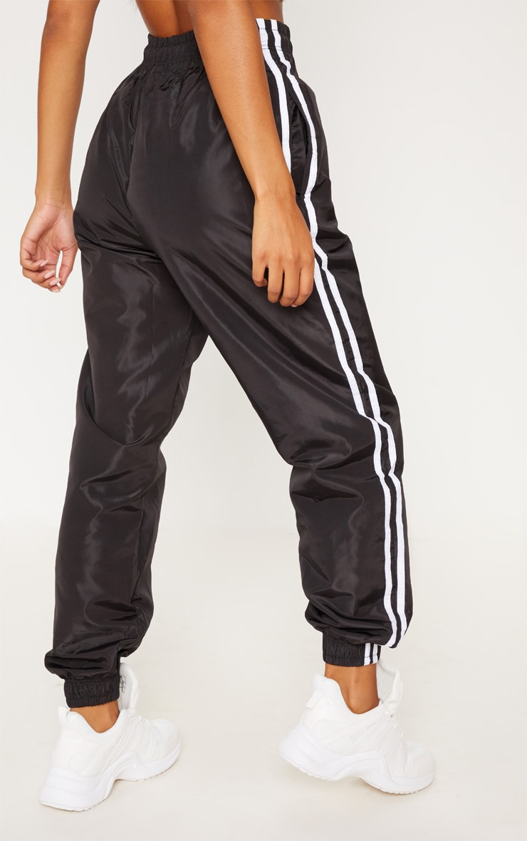 Black Contrast Side Stripe Shell Joggers 4