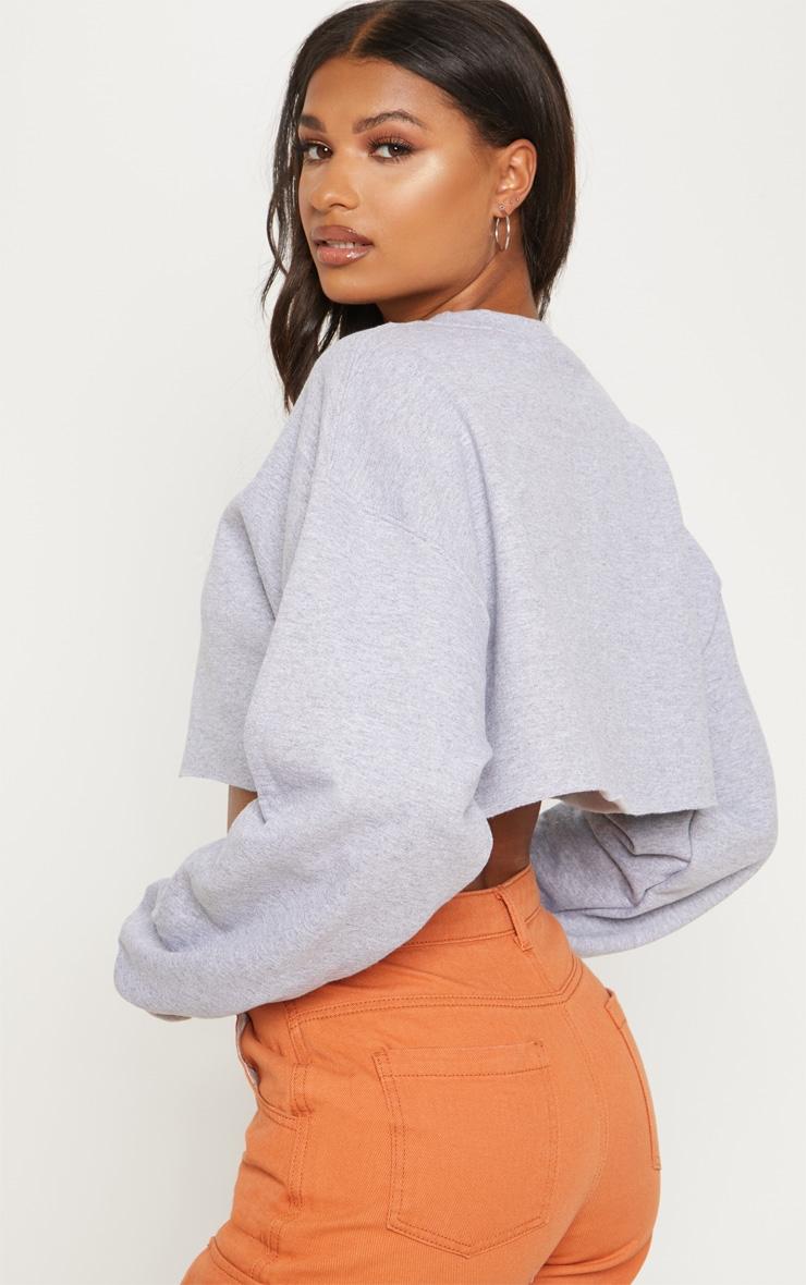 Grey Marl California Orange Slogan Crop Sweater 2