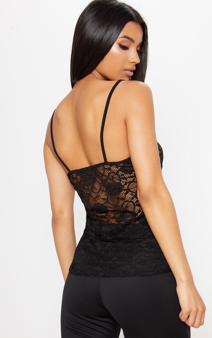 Black Sheer Lace Cami Top  2
