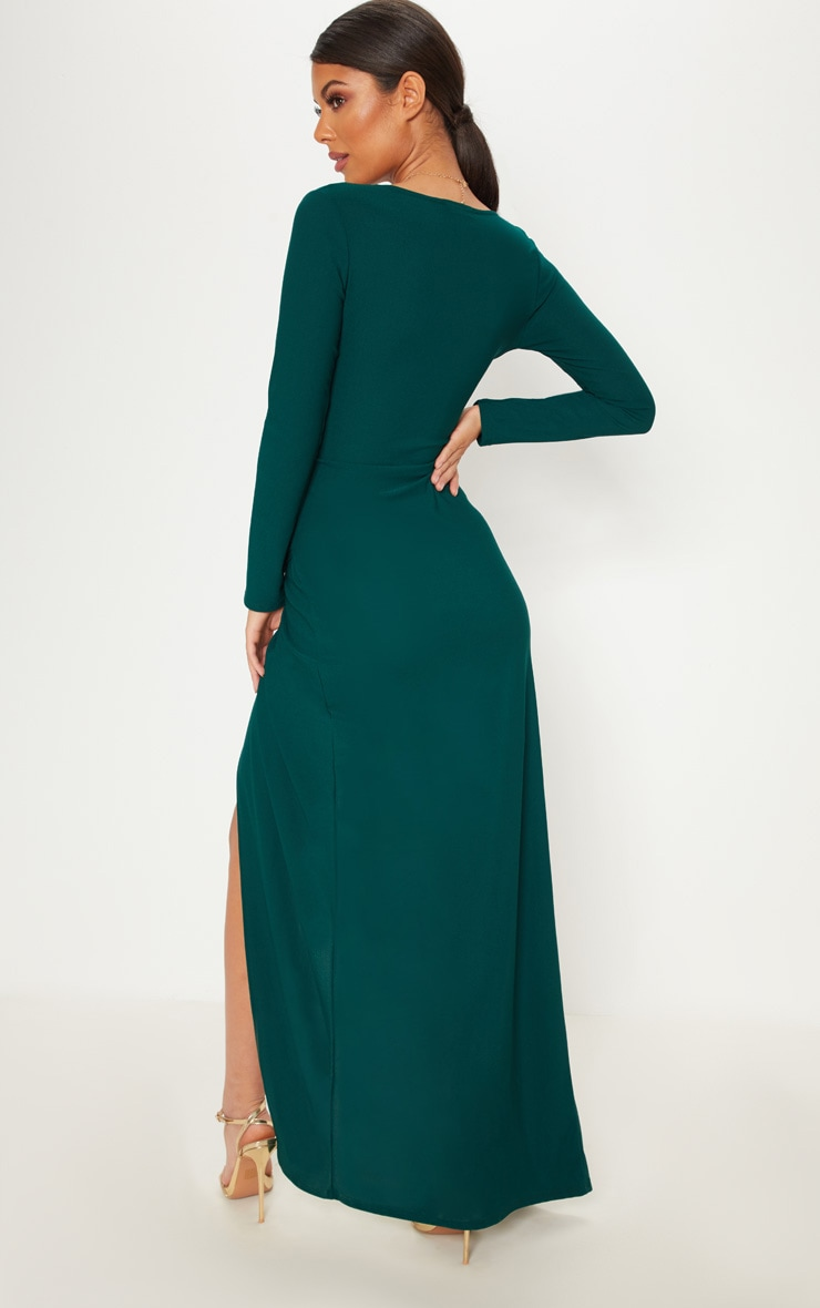 Emerald Green Plunge Ruched Split Leg Maxi Dress 2