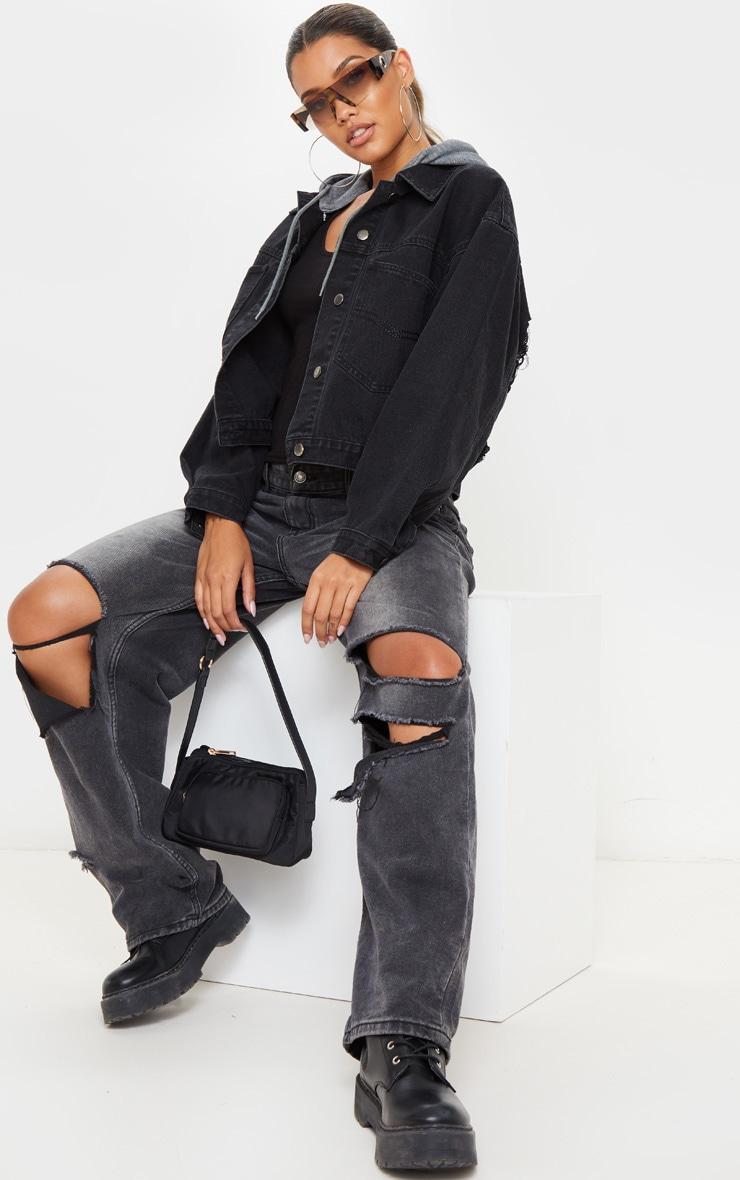 Washed Black Hooded Oversized Denim Jacket 4