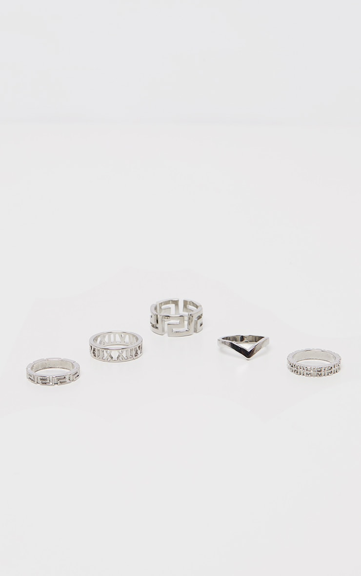 Silver Roman Multi Shape Five Set Ring Pack 3