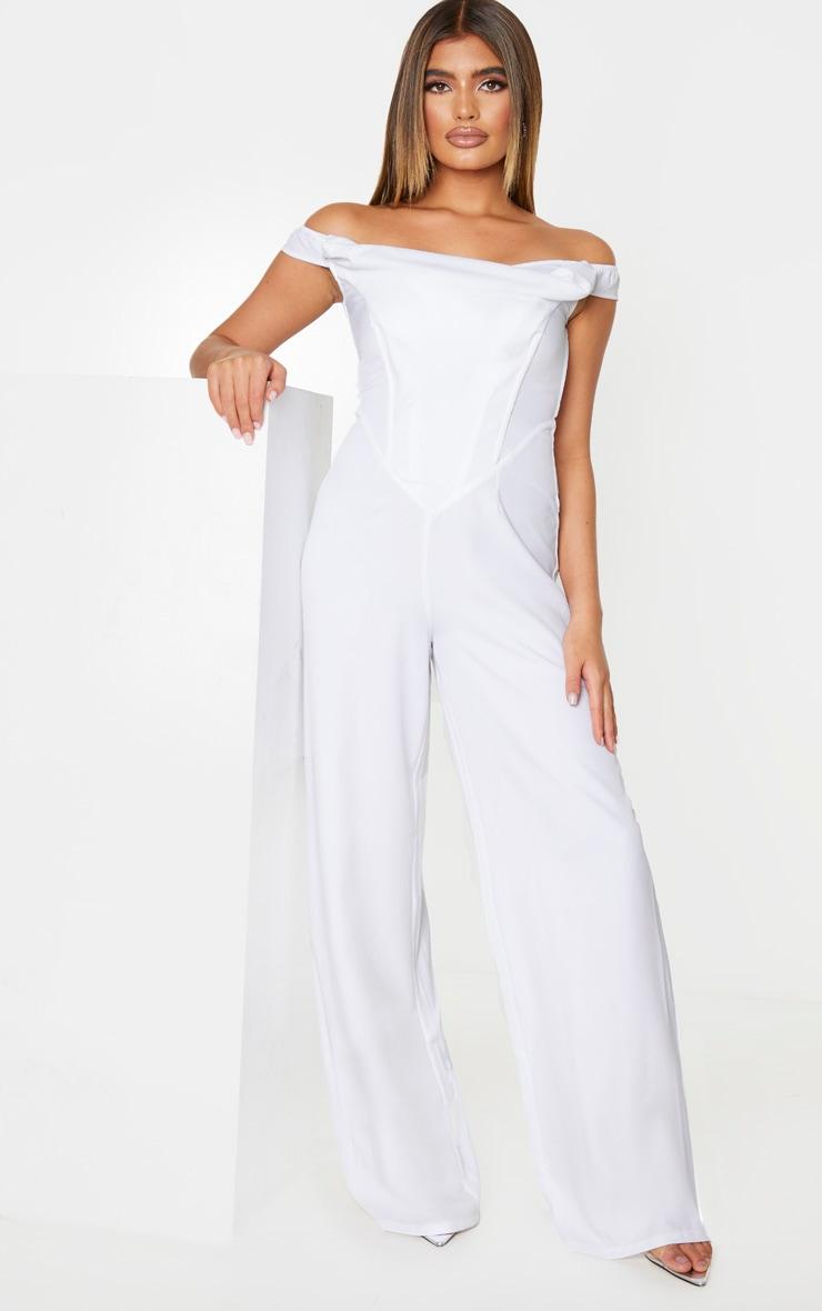 White Corset Bardot Jumpsuit 1