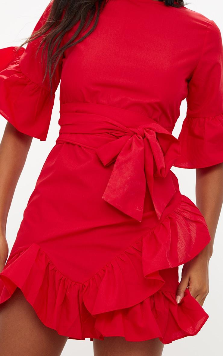 Red Frill Detail Mini Dress 5