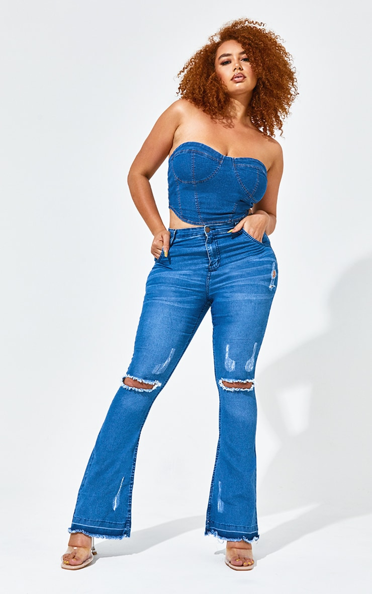 Plus Mid Blue Distressed Knee Flare Jean
