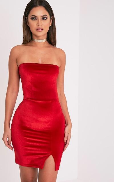 Layala Red Velvet Split Detail Bandeau Dress