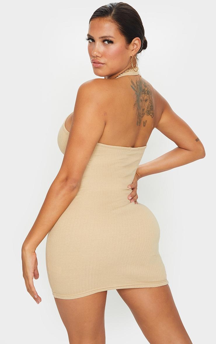 Shape Camel Thick Rib Halterneck Bodycon Dress 2