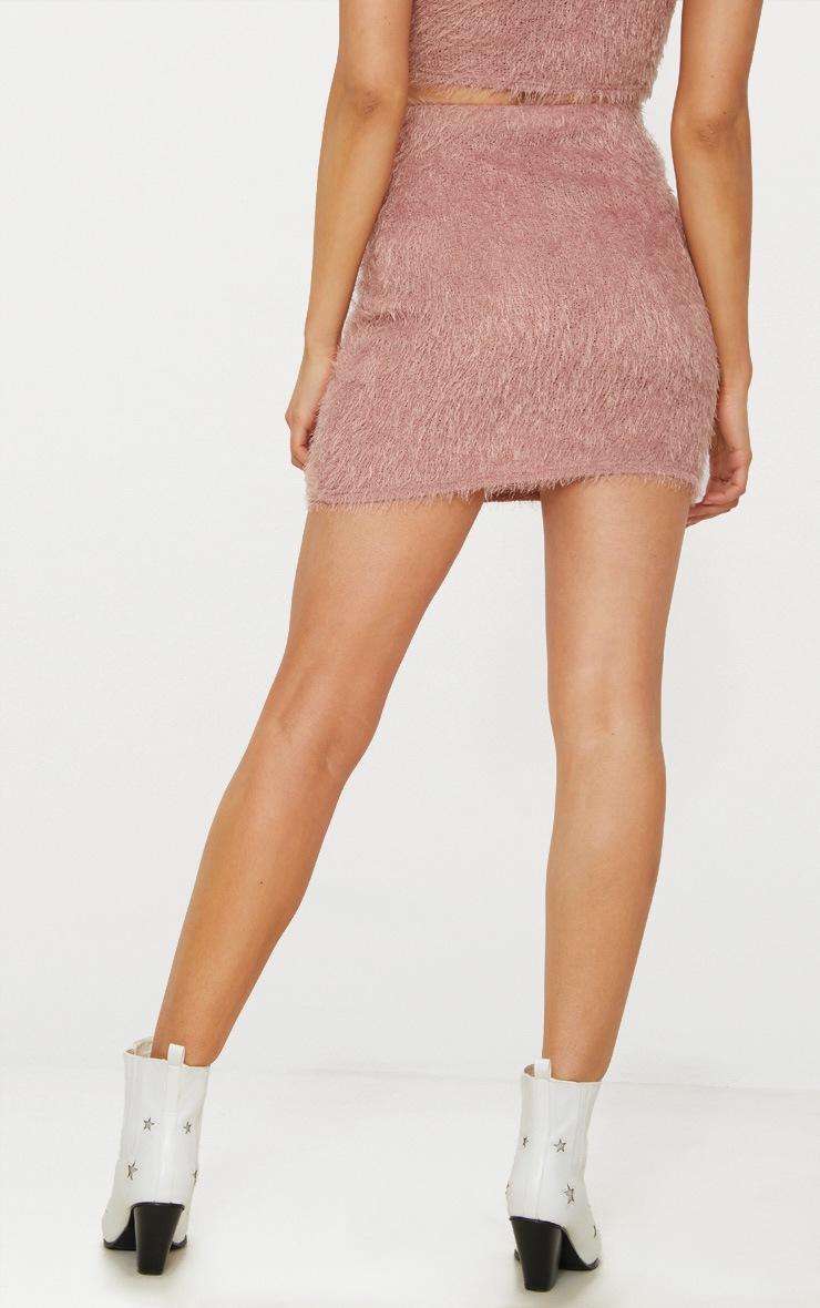 Pink Eyelash Fluffy Knit Skirt 4