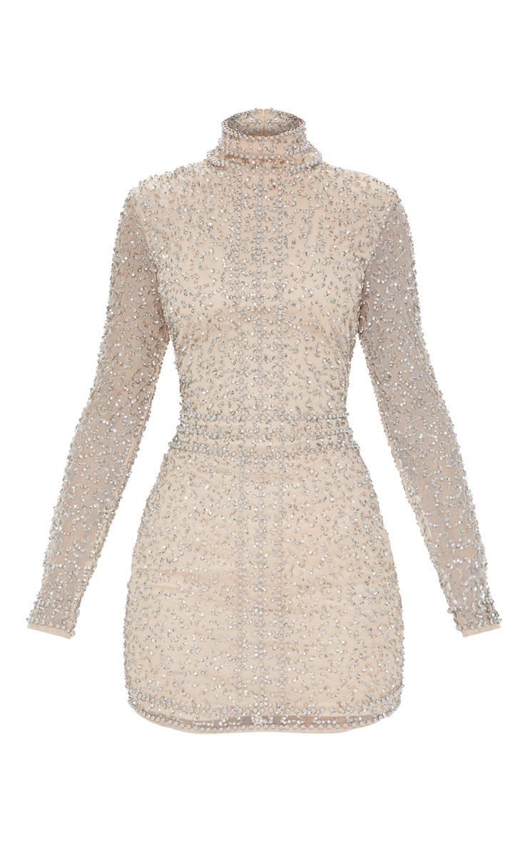 Nude Sequin Embellished High Neck Bodycon Dress 3