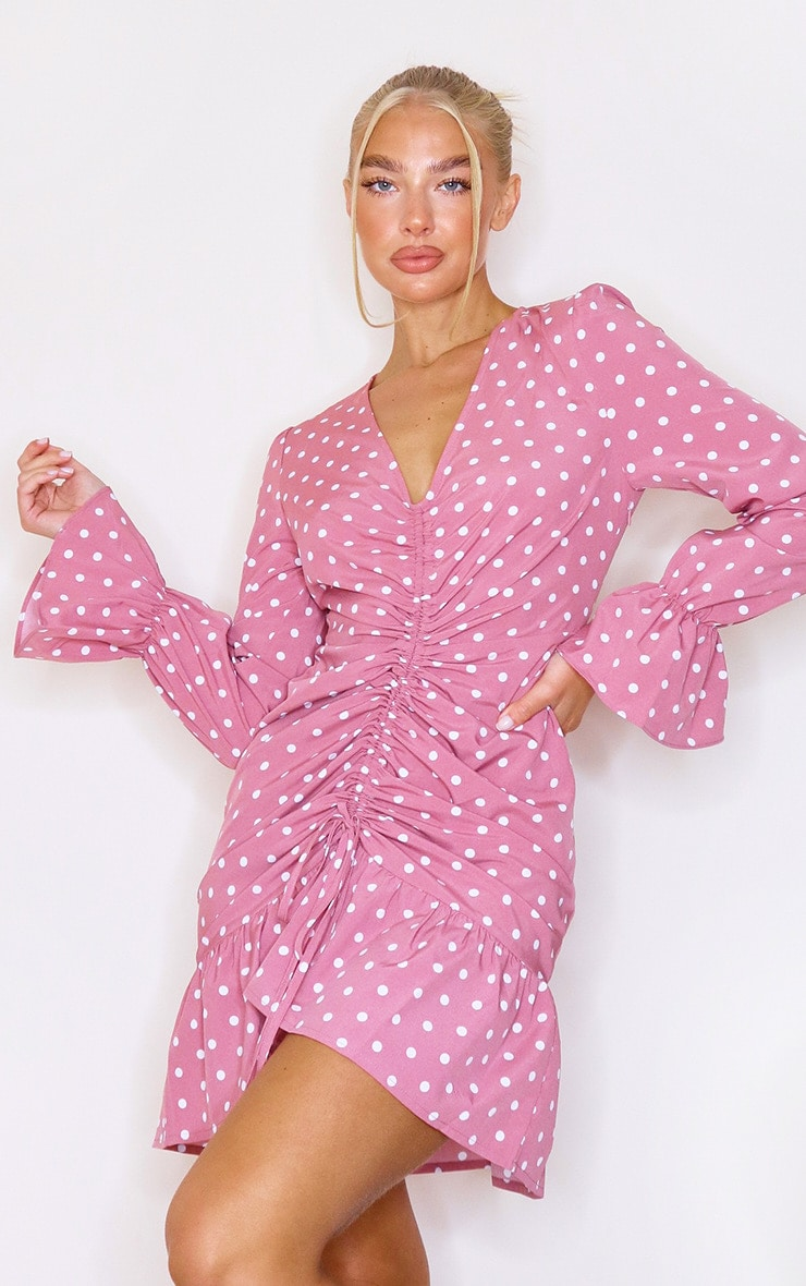 Pink Polka Dot Print Ruched Front Bodycon Dress 3