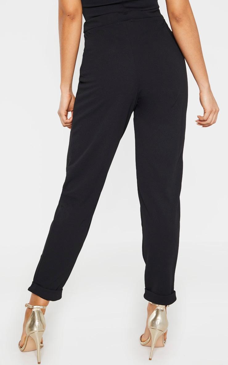 Tall Black Basic Roll Cuff Crepe Pants  4