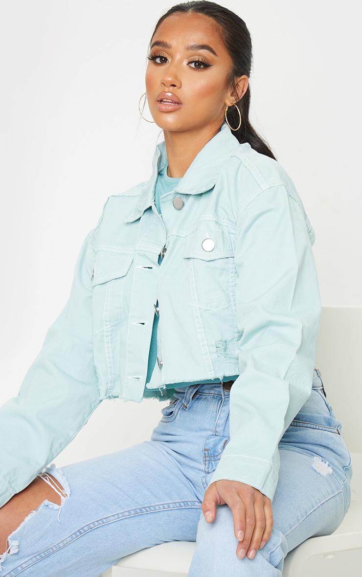 Petite Mint Raw Hem Cropped Denim Jacket 1