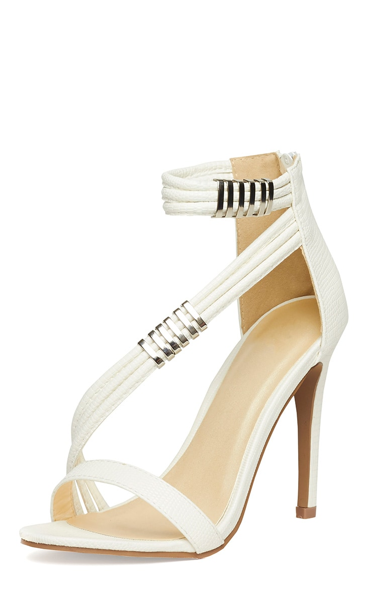 Riley White Cross Strap Heeled Sandals 4