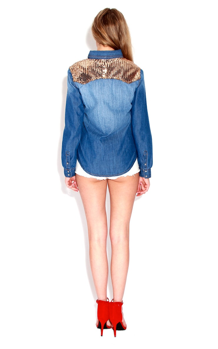 Joan Denim Sequin Shoulder Shirt  3