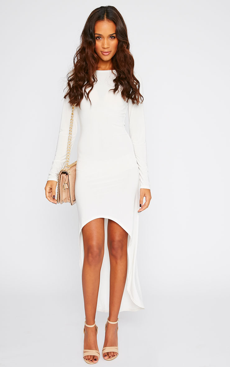 Fearne Cream Slinky Dip Hem Dress 4