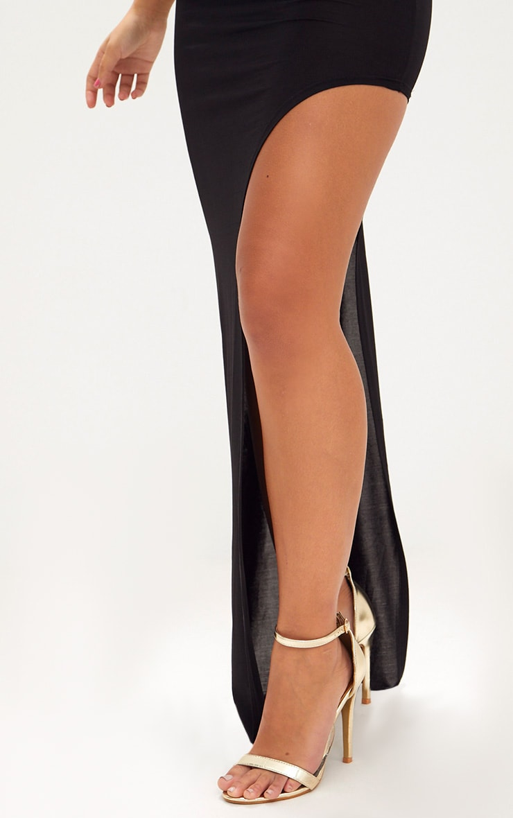 Black One Shoulder Asymmetric Maxi Dress 5