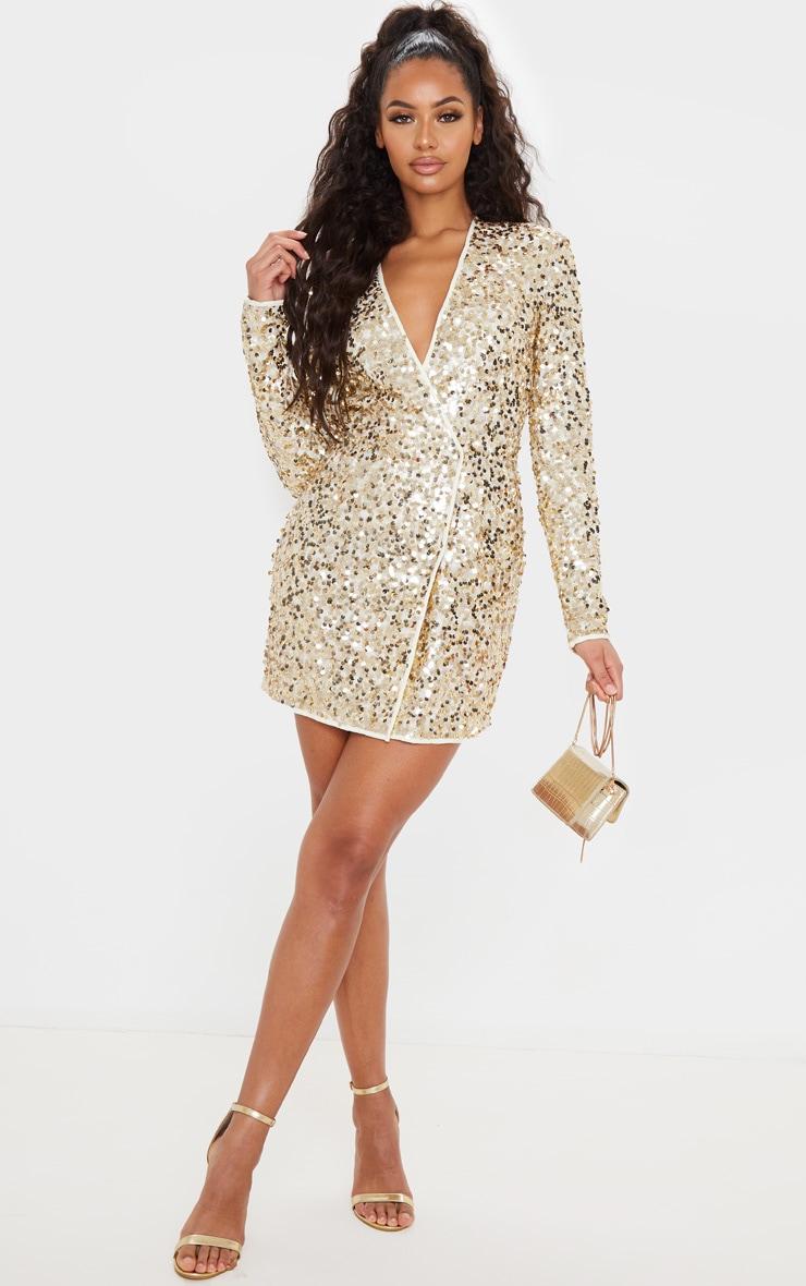 Gold Sequin Long Sleeve Blazer Dress 4