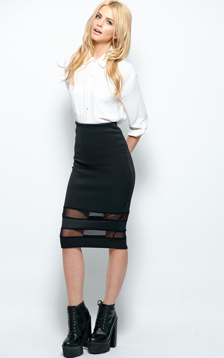 Cassandra Black Mesh Panel Midi Skirt 3