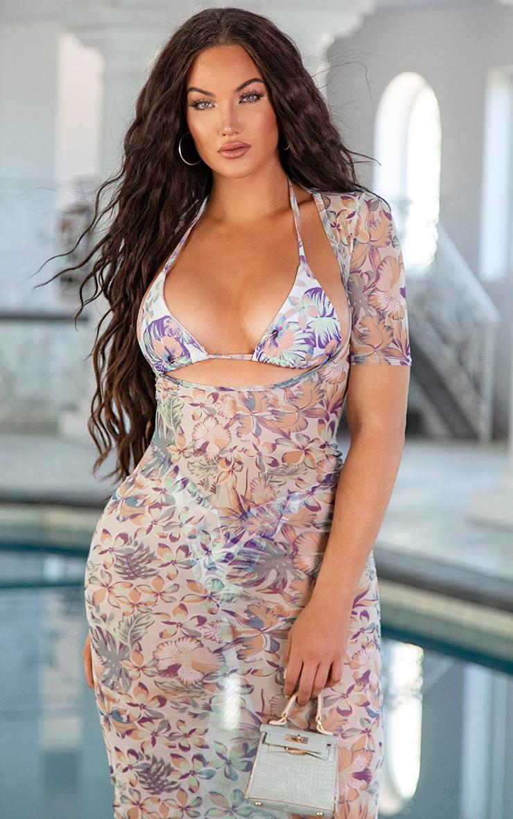 Pastel Hawaiian Print Upside Down Triangle Bikini Top 2