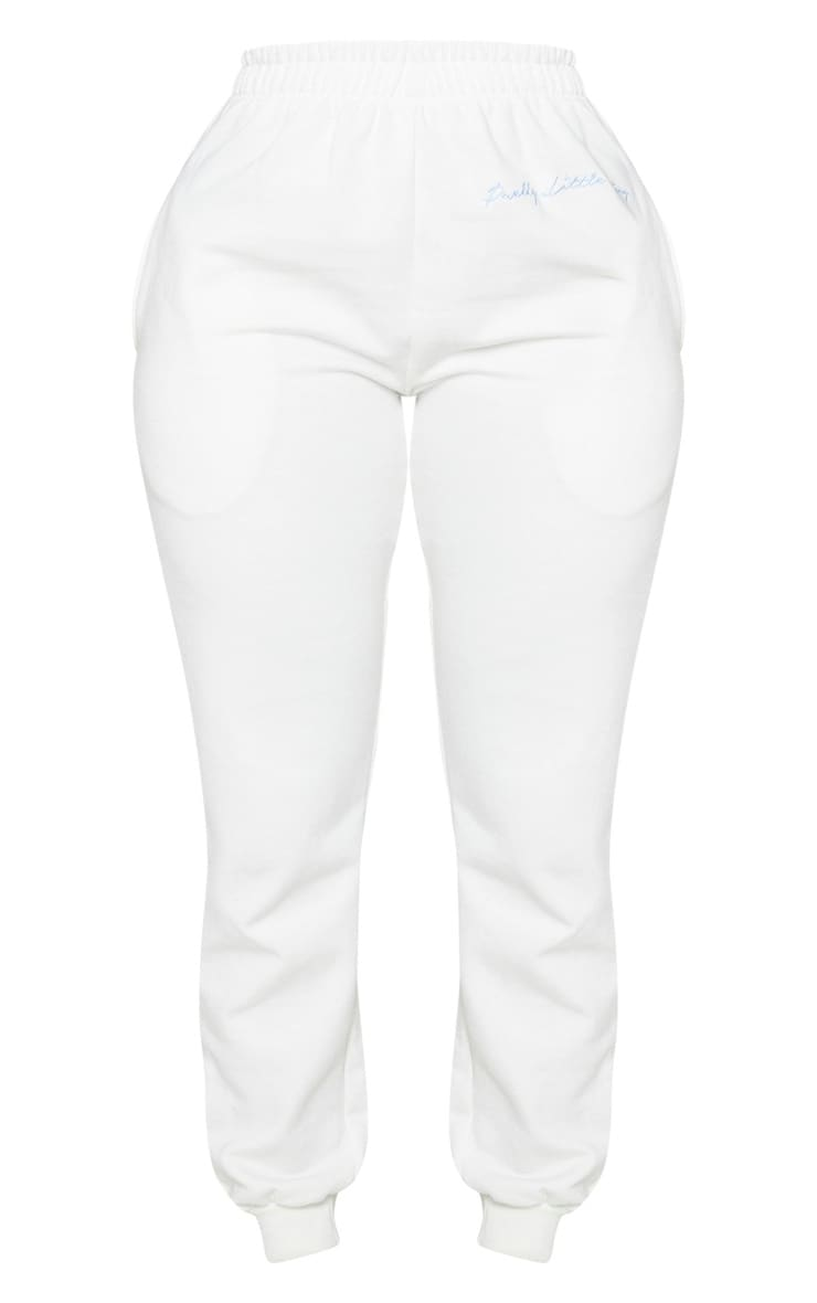 PRETTYLITTLETHING Shape Cream Embroidered Joggers 5