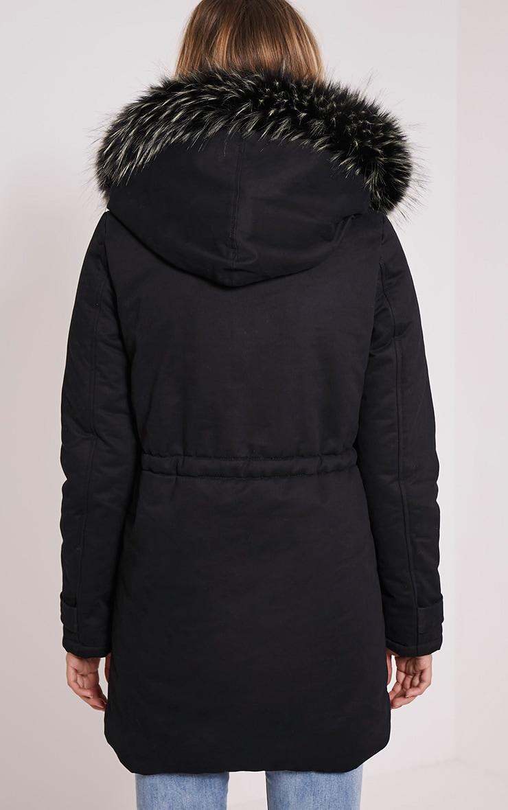 Emmi Black Premium Faux Fur Lined Parka Coat 2