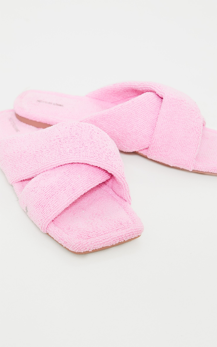 Pink Towelling Square Toe Cross Over Mule Sandals 3