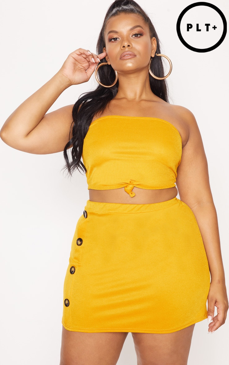Plus Mustard Tortoise Button Detail Mini Skirt
